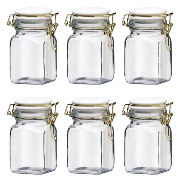 Amici Home Chloe 6-Piece Glass 10 oz. Glass Hermetic Mini Canister