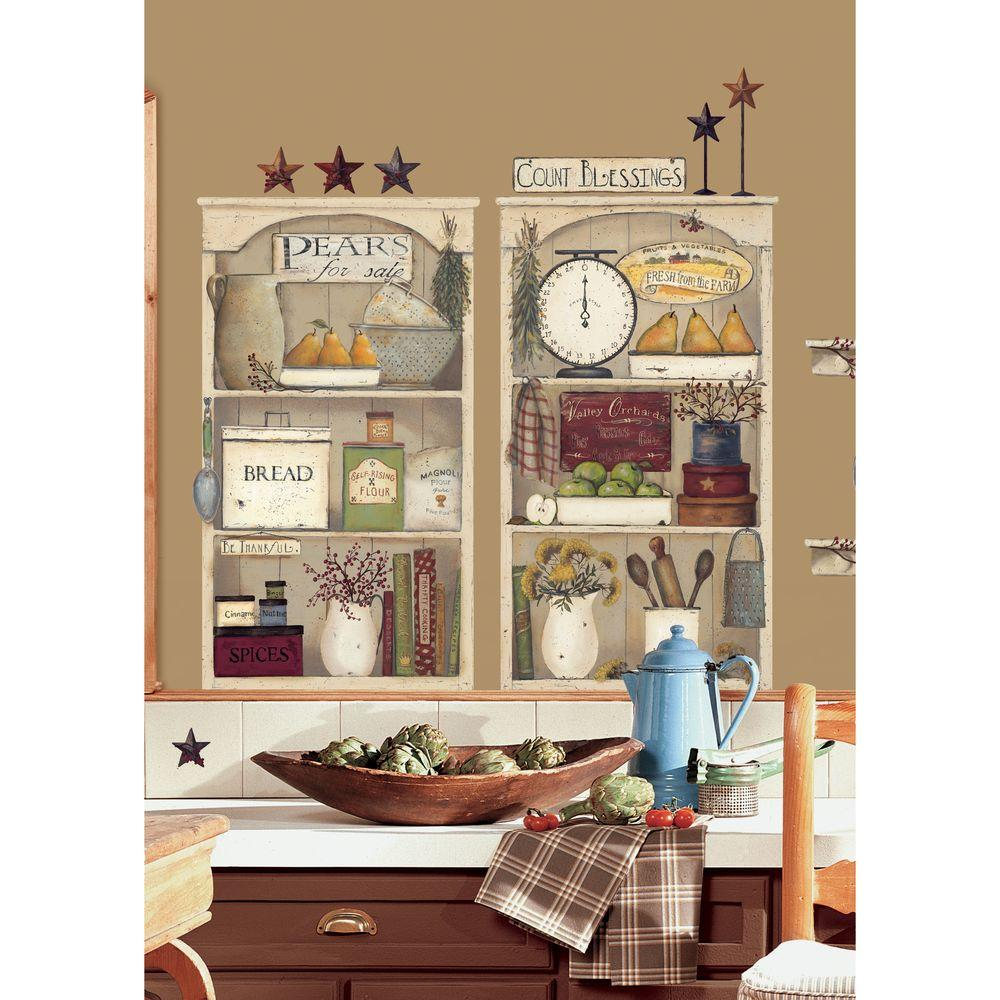 null 27 in. x 40 in. Country Kitchen Shelves 17-Piece Peel and Stick Giant Wall Decals