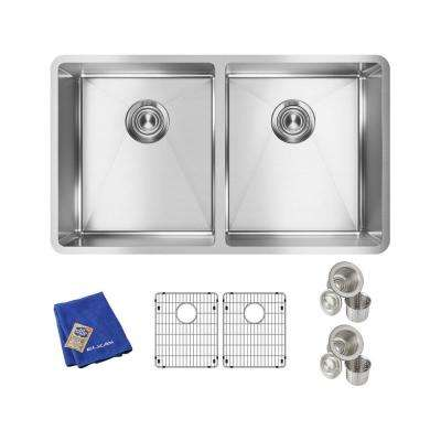 Crosstown Undermount Stainless Steel 32 in. Double Bowl Kitchen Sink with Bottom Grids and Drains