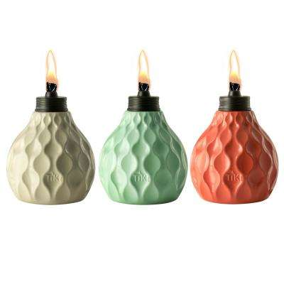 6 in. Marine Glass Table Torch Seaside Escape Ivory, Coral and Blue (3-Pack)