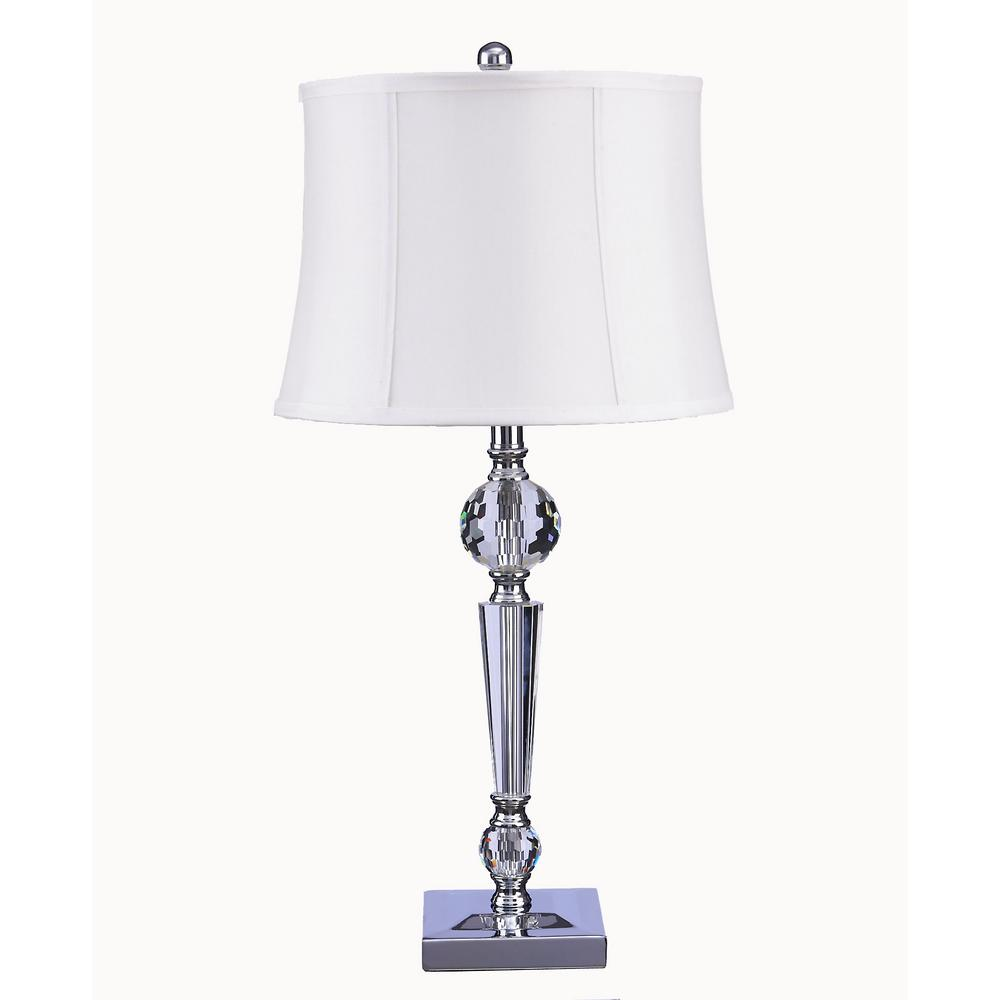 Chrome And Clear Crystal Table Lamp With White Shade