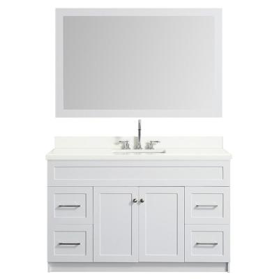 55 in. Bath Vanity in White with Quartz Vanity Top in White with White Basin and Mirror