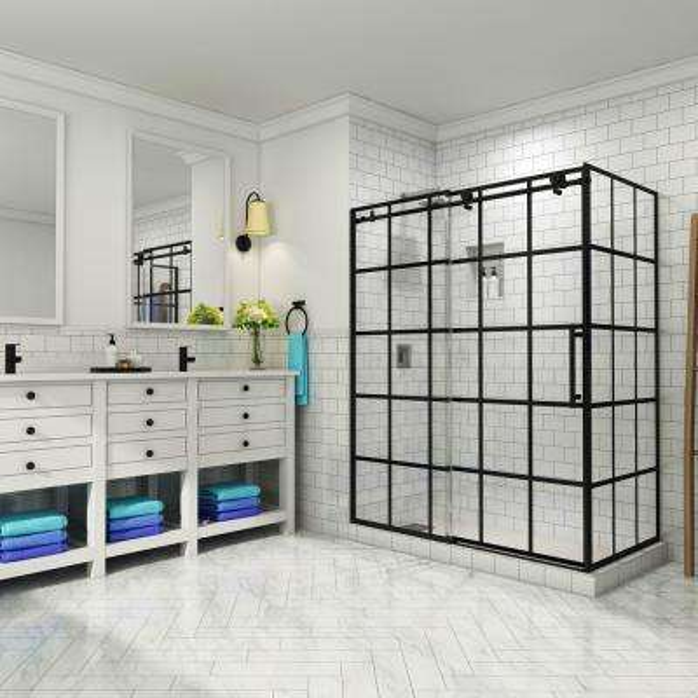 French Vienne 44 in. to 48 in. x 33.875 in. x 76 in. Frameless Sliding Corner Shower Door in Matte Black, Right Opening