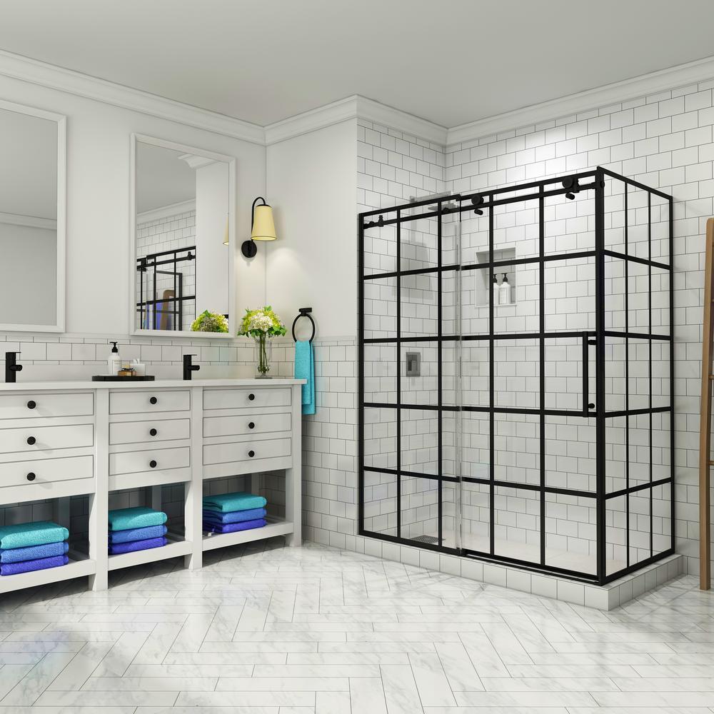 French Vienne 56 in. to 60 in. x 33.875 in. x 76 in. Frameless Sliding Corner Shower Door in Matte Black, Right Opening