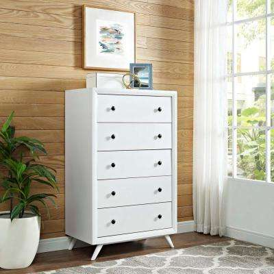 Tracy 5-Drawer White Chest