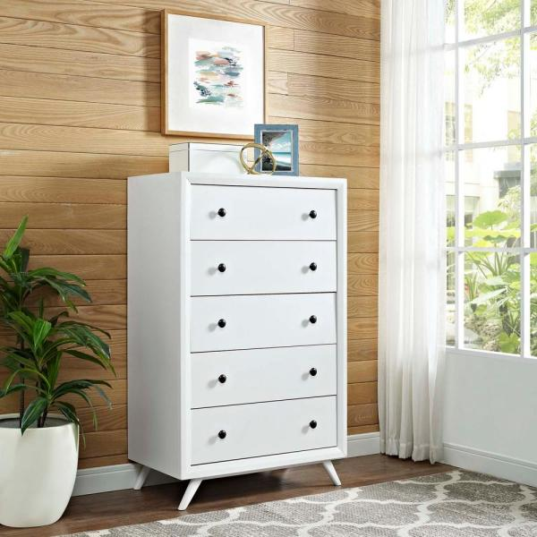 MODWAY Tracy 5-Drawer White Chest MOD-5242-WHI