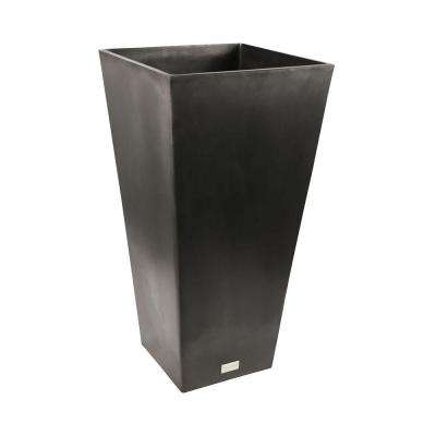 Midland 13 in. Square Black Tall Plastic Planter