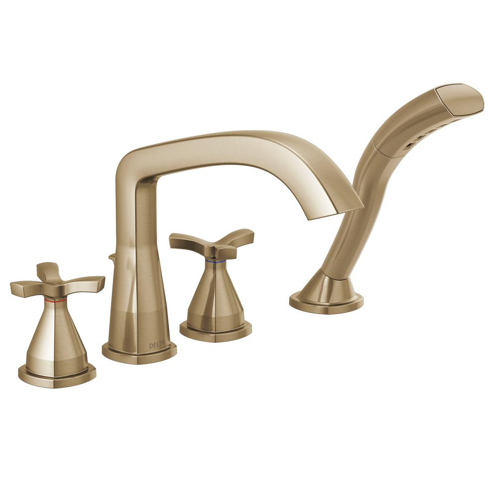 Delta Stryke 2-Handle Deck Mount Roman Tub Faucet Trim Kit with Handshower in Champagne Bronze (Valve Not Included)