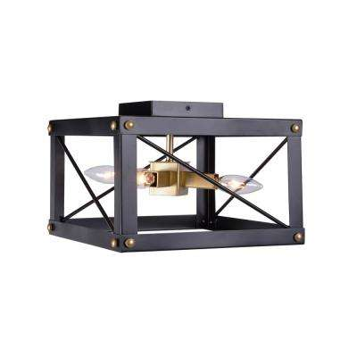 Courtney 4-Light Black and Gold Flush Mount Light