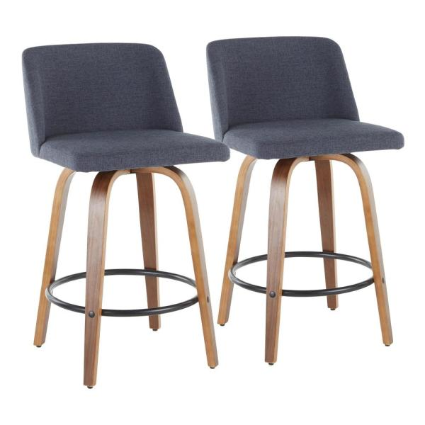 Toriano 26 in. Walnut and Blue Fabric Counter Stool with Round Black Footrest (Set of 2)