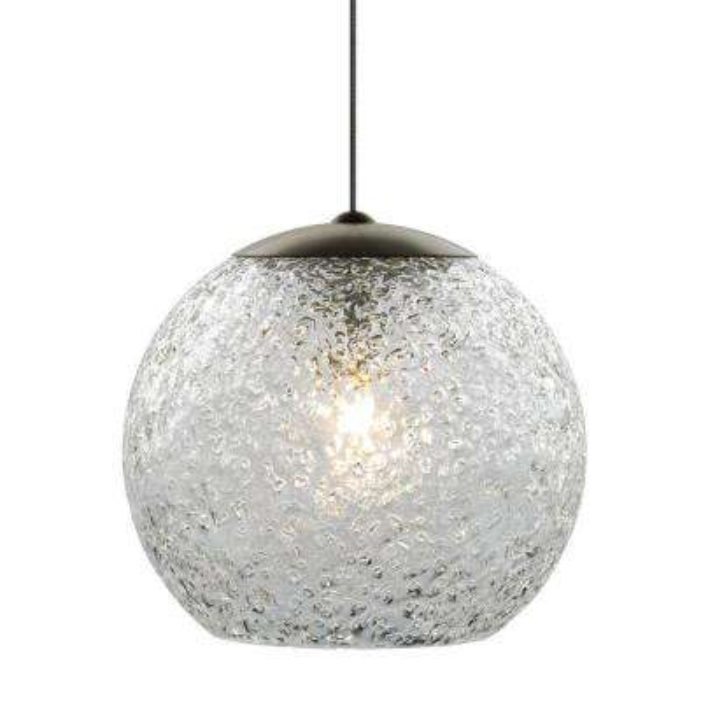 Mini-Rock Candy Round 1-Light Bronze Clear LED Hanging Mini Pendant