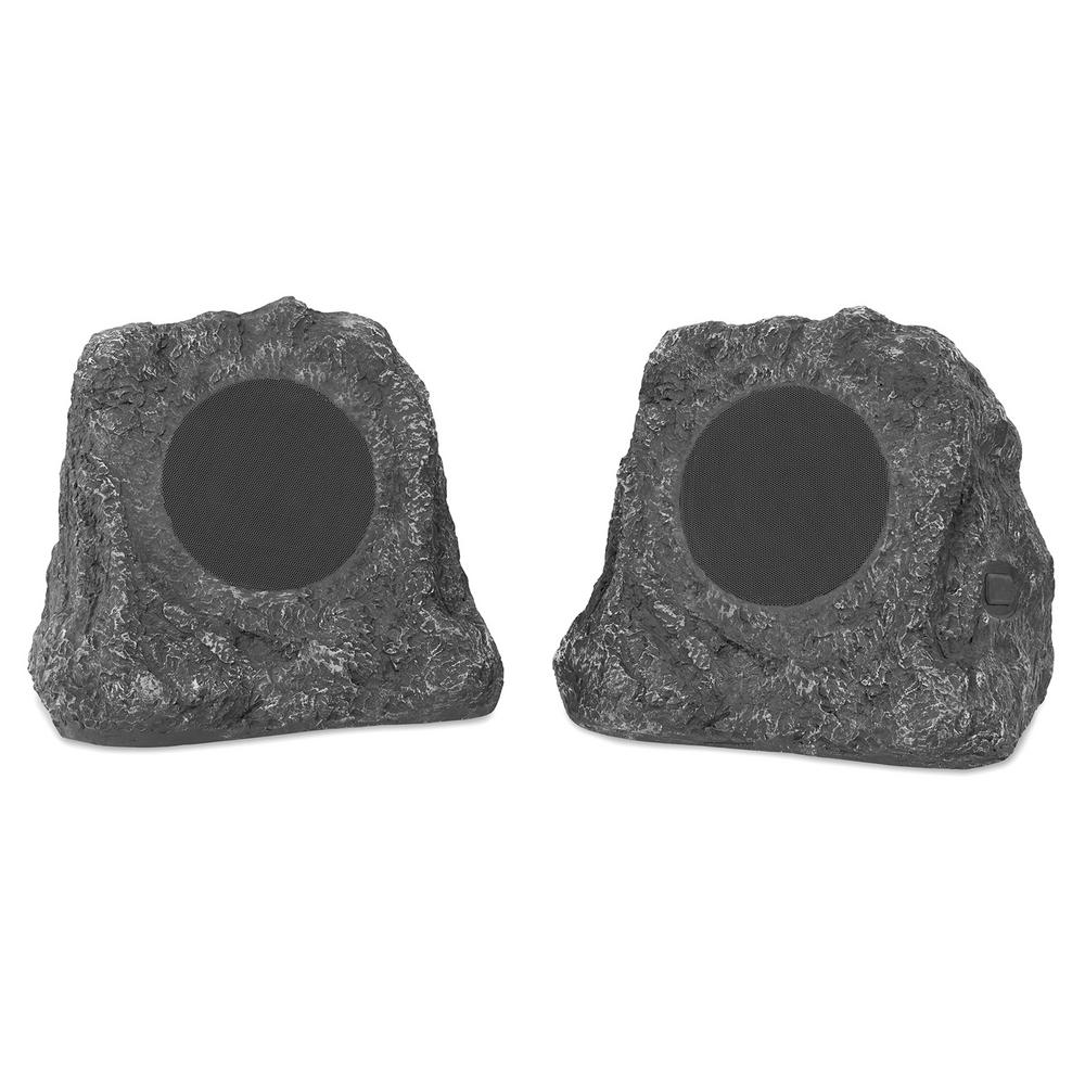 Innovative Technology Pair Of Wireless Waterproof Rechargeable Bluetooth Outdoor Rock Speakers Itsbo 513p5 The Home Depot