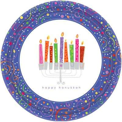 7 in. x 7 in. Playful Menorah Plates (8-Count, 5-Pack)