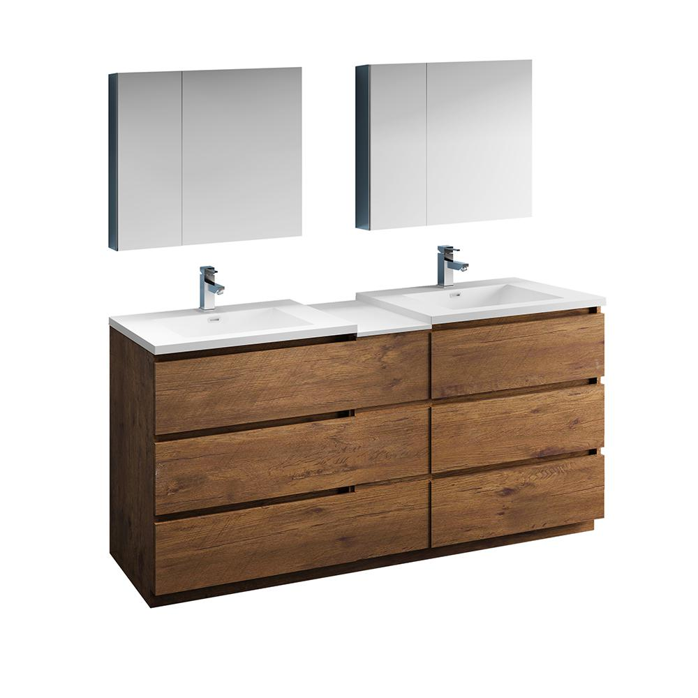 best cheap 1f362 d9227 Fresca Lazzaro 72 in. Modern Double Bathroom Vanity in Rosewood with Vanity  Top in White with White Basins and Medicine Cabinet