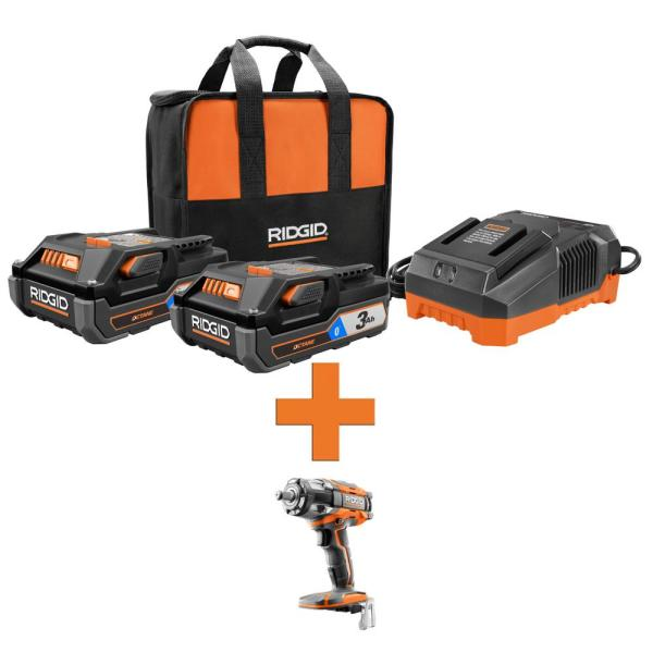RIDGID 18-Volt OCTANE Lithium-Ion (2) 3.0 Ah Batteries and Charger Kit w/OCTANE Brushless 1/2 in. Impact Wrench
