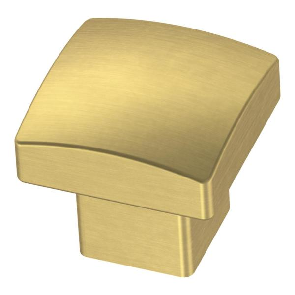 Simply Geometric 1-1/8 in. (28mm) Brushed Brass Square Cabinet Knob