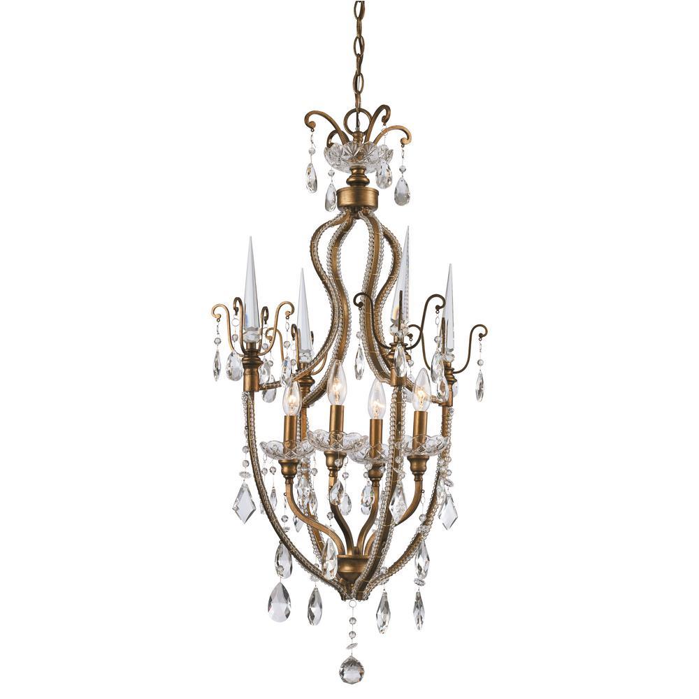 Juglans 4-Light Antique Gold Chandelier