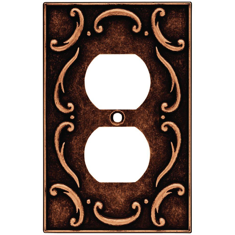Liberty French Lace 1 Gang Duplex Wall Plate - Sponged Copper