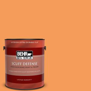 Behr Ultra 1 Gal 260b 6 Blaze Orange Extra Durable Flat Interior Paint Primer 172301 The Home Depot