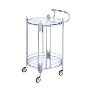 Furniture Of America Kapelle Chrome Serving Cart With Caster
