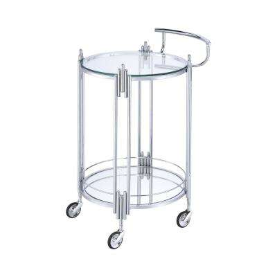Kapelle Chrome Serving Cart with Caster Wheels