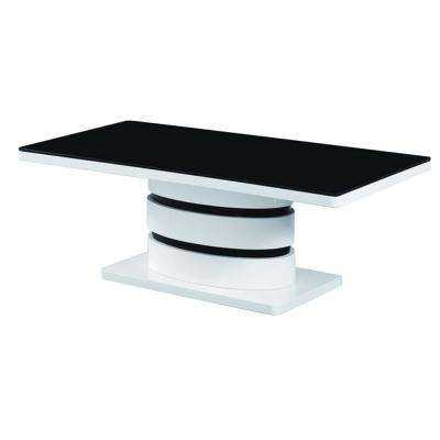 Kilimanjaro Tempered Glass Coffee Table with Glossy Black and White Base
