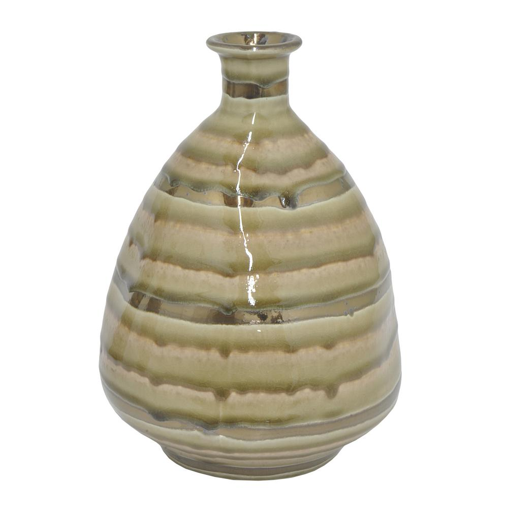 THREE HANDS Gold And Ivory Ceramic Decorative Vase With