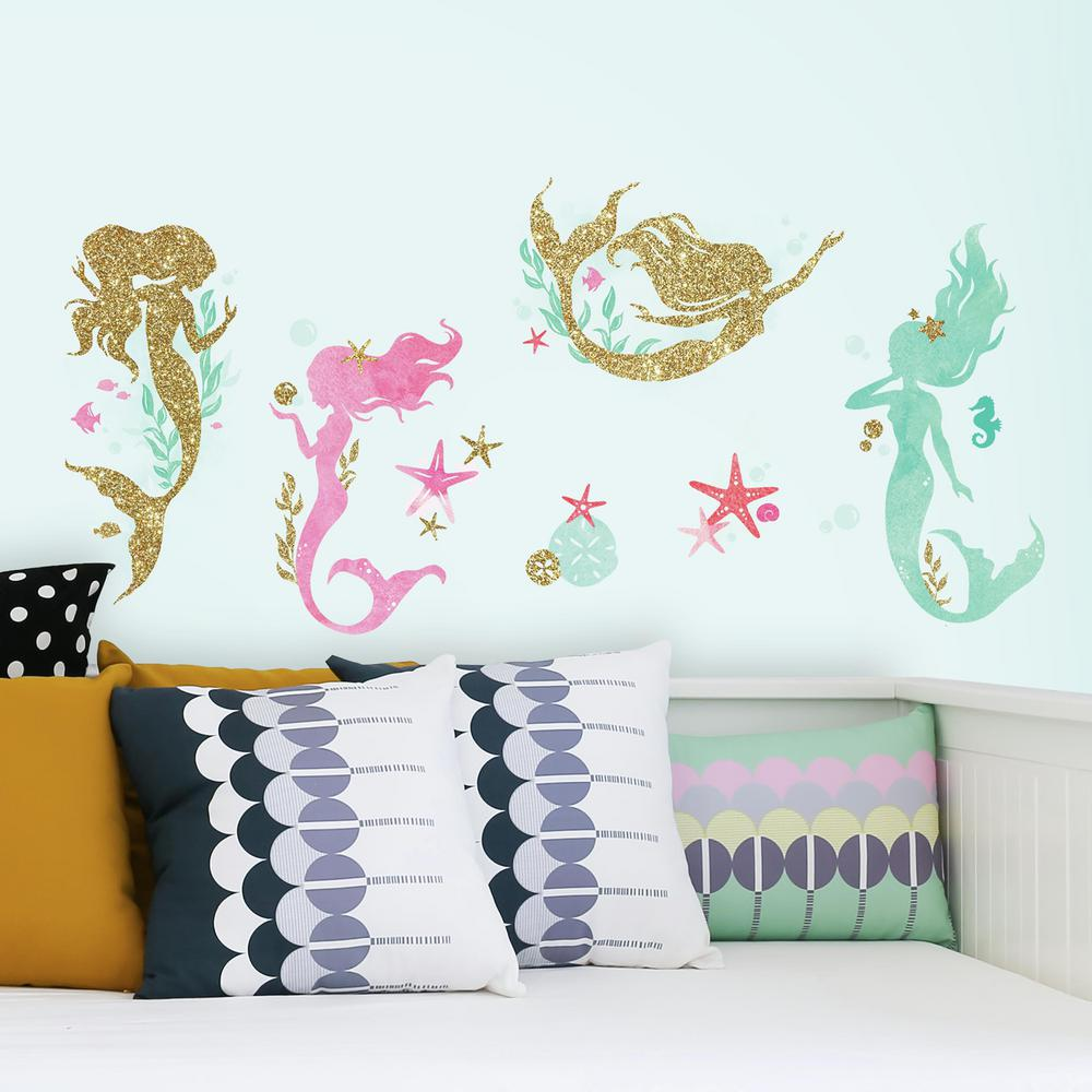Mermaid 21 Piece Peel And Stick Wall Decals