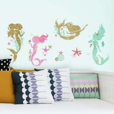 5 in. x 11.5 in. Mermaid 21-Piece Peel and Stick Wall Decals with Glitter