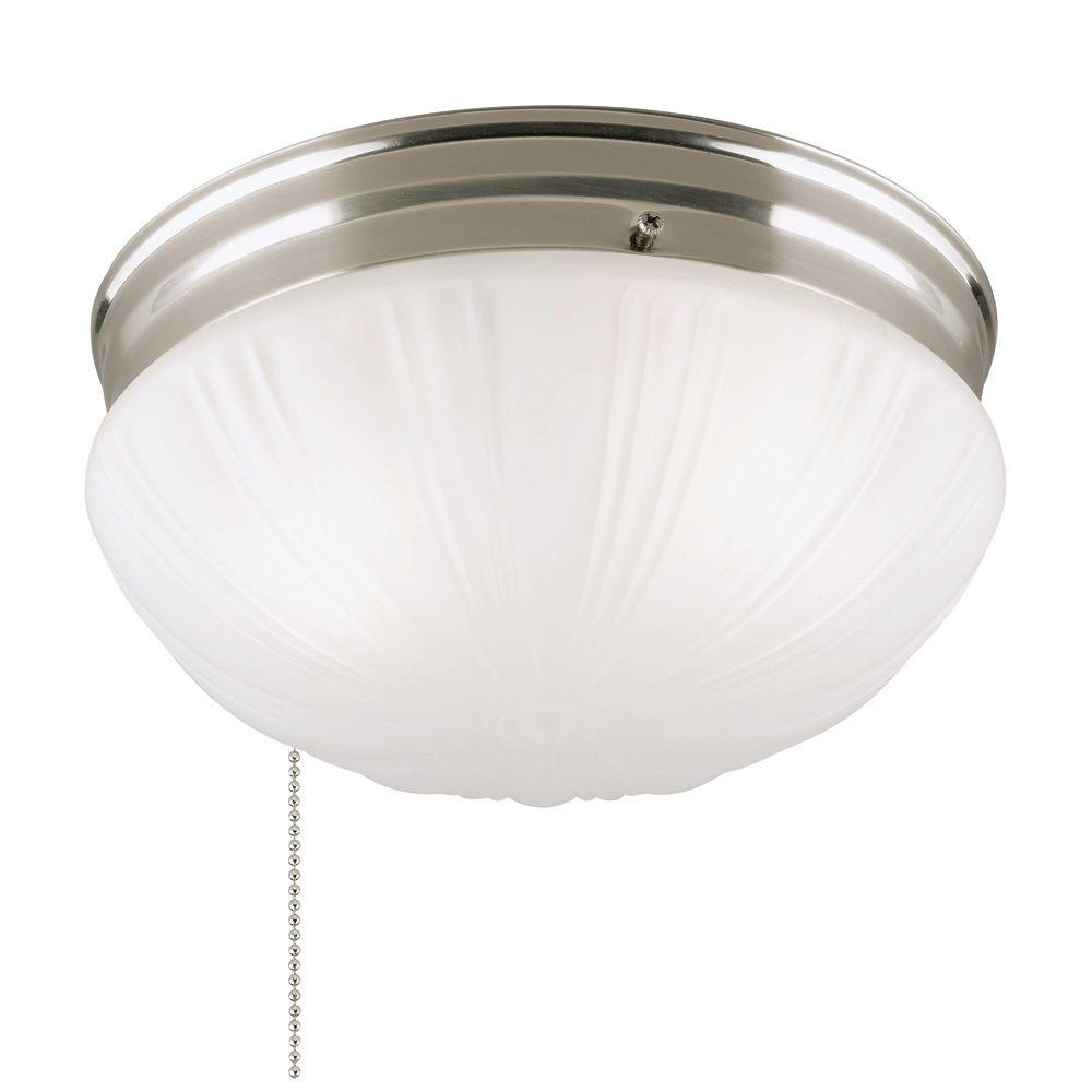 Westinghouse 2 Light Brushed Nickel Flushmount Interior With Pull Chain And Frosted Fluted Gl