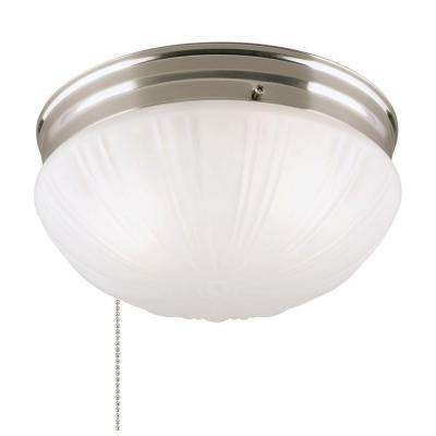2-Light Brushed Nickel Flushmount Interior with Pull Chain and Frosted Fluted Glass