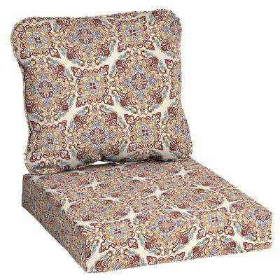 24 in. x 22 in. Chili Medallion Deep Seating Outdoor Lounge Chair Cushion