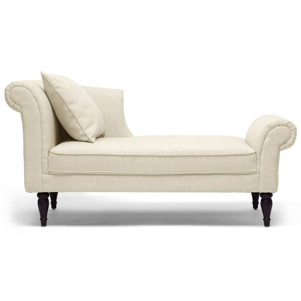 Lucille Traditional Beige Fabric Upholstered Chaise