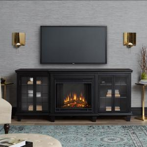 Real Flame Marlowe 70 inch Freestanding Electric Fireplace TV Stand in Black by Real Flame