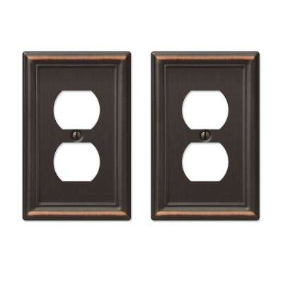 Ascher 1 Duplex Outlet Plate in Aged Bronze Stamped (2-Pack)