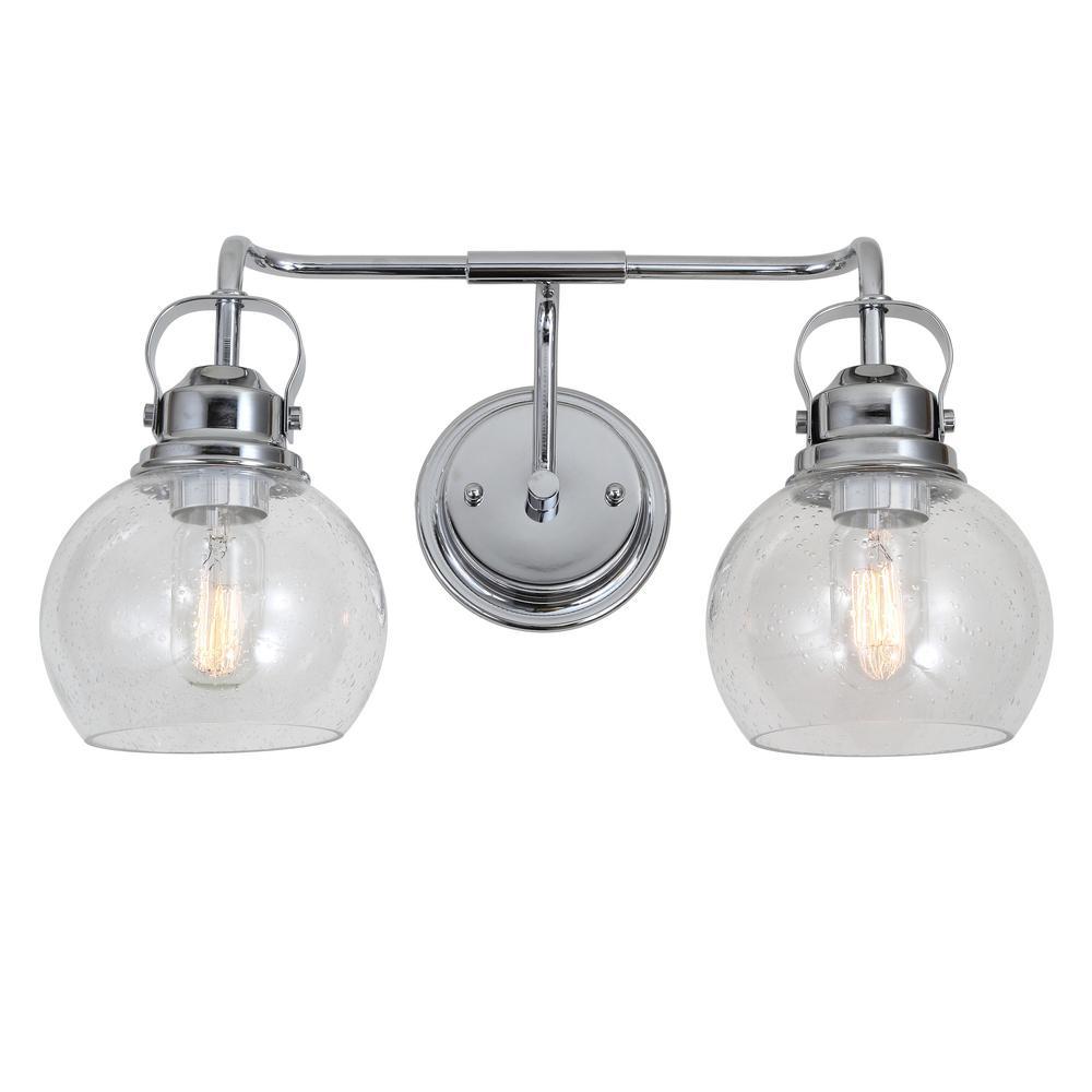 Shirley 17.5 in. 2-Light Metal/ Bubbled Glass Chrome Vanity Light