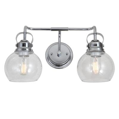 Shirley 17.5 in. 2-Light Metal/ Bubbled Glass Chrome Vanity Light