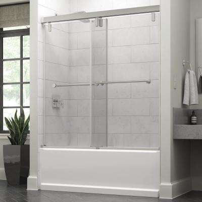 Everly 60 in. x 59-1/4 in. Semi-Frameless Mod Sliding Bathtub Door in Chrome with 3/8 in. (10mm) Clear Glass