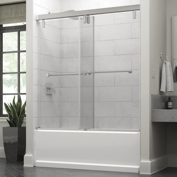Everly 60 in. x 59-1/4 in. Mod Semi-Frameless Sliding Bathtub Door in Chrome and 3/8 in. (10mm) Clear Glass