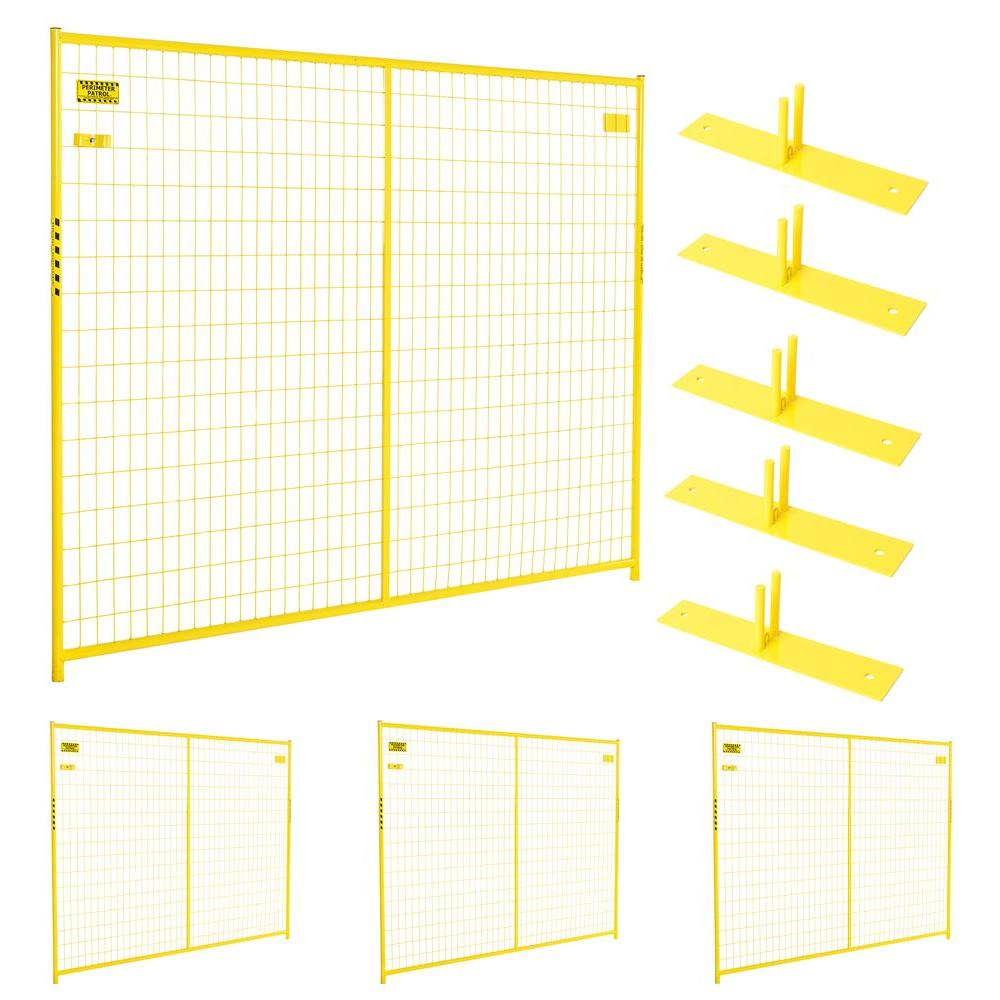 6 ft. x 29 ft. 4-Panel Yellow Powder-Coated Welded Wire Temporary