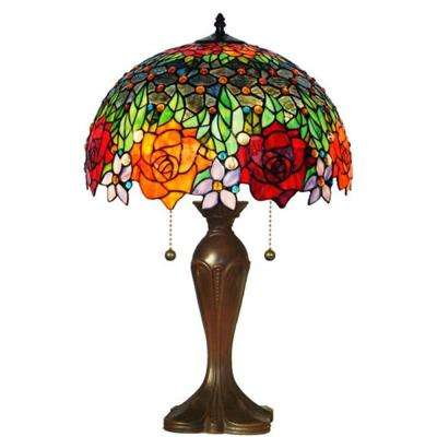 23 in. Tiffany Style Roses Table Lamp