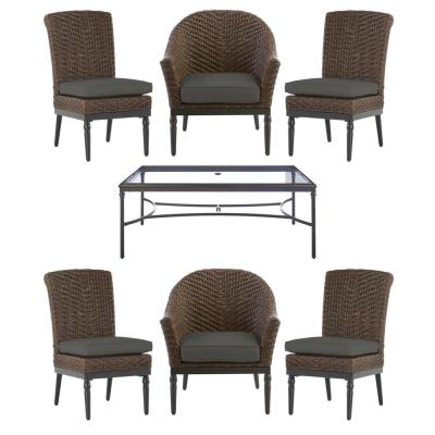 Camden Dark Brown 7-Piece Wicker Outdoor Patio Dining Set with CushionGuard Graphite Dark Gray Cushions