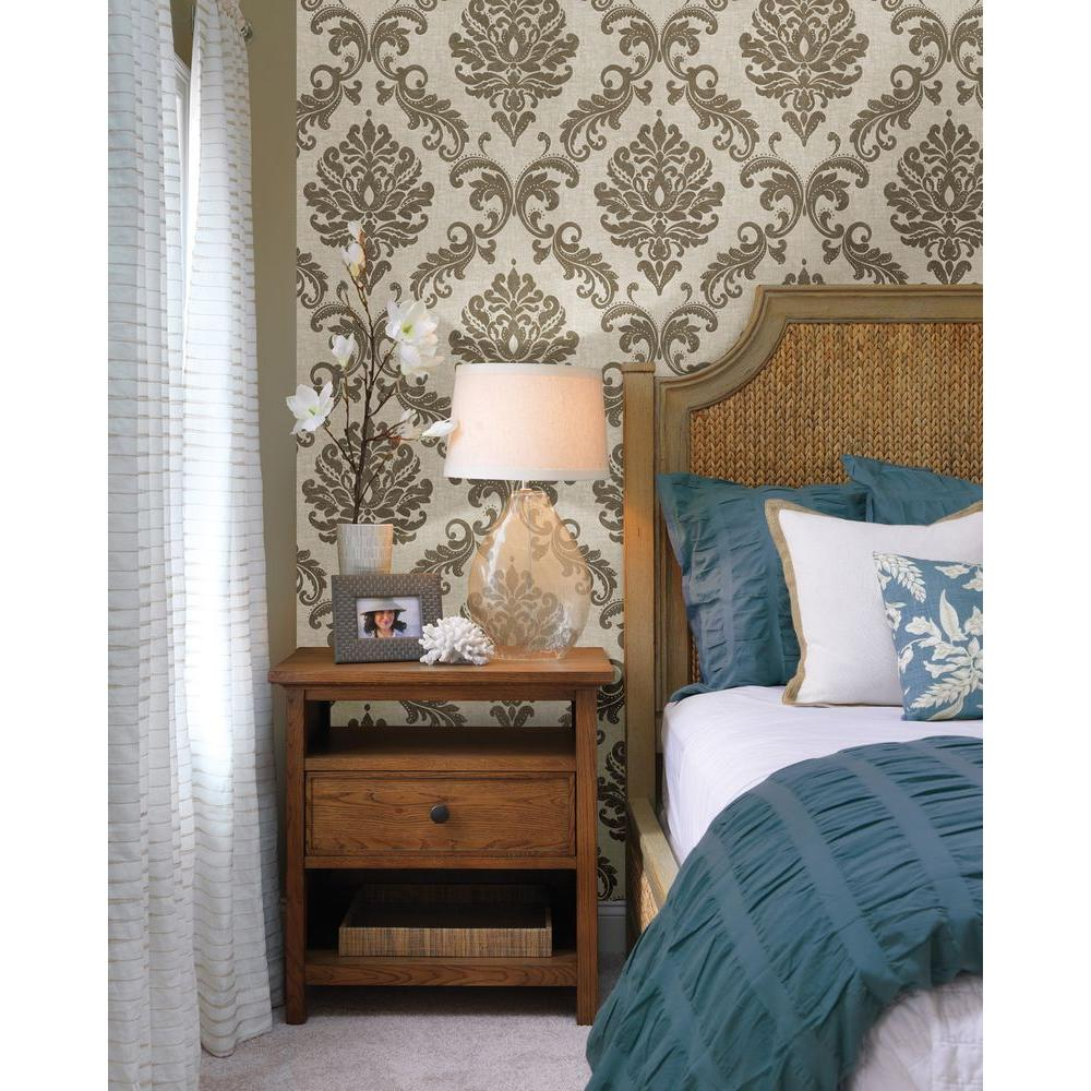 Beacon house sebastion gold damask wallpaper 450 67359 for Feature wall bedroom designs