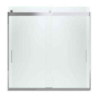 Levity 57 in. x 59.75 in. Semi-Frameless Sliding Tub Door in Silver finish with Handle