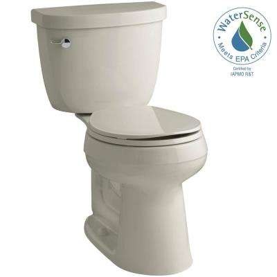 Cimarron Comfort Height 2-piece 1.28 GPF Single Flush Round Toilet with AquaPiston Flush Technology in Sandbar