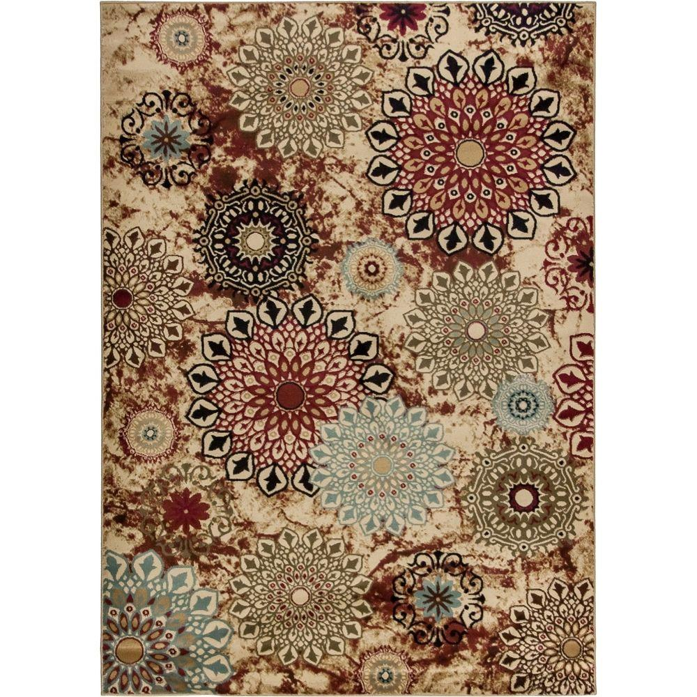 Well Woven Delilahs Place Ivory 7 ft. 10 in. x 9 ft. 10 in. Floral Transitional Area Rug
