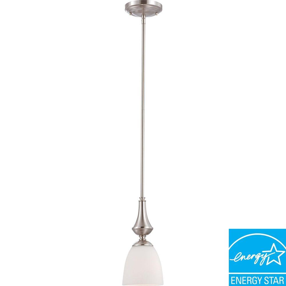 Glomar 1-Light Brushed Nickel Mini Pendant with Frosted Glass