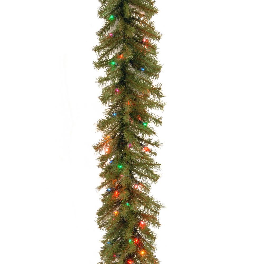 super popular 29c2f 9dccf Norwood Fir 9 ft. Garland with Battery Operated Multicolor LED Lights