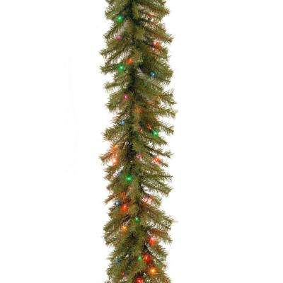 Norwood Fir 9 ft. Garland with Battery Operated Multicolor LED Lights