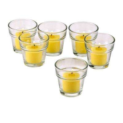 Clear Glass Flower Pot Votive Candle Holders with Citronella Yellow Votive Candles Burn 10 Hours (Set of 12)